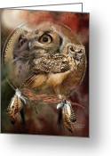 Featured Mixed Media Greeting Cards - Dream Catcher - Spirit Of The Owl Greeting Card by Carol Cavalaris