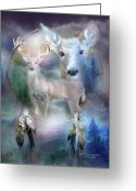 Animal Art Giclee Mixed Media Greeting Cards - Dream Catcher - Spirit Of The White Deer Greeting Card by Carol Cavalaris