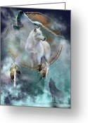Wolves Mixed Media Greeting Cards - Dream Catcher - Spirit Of The White Wolf Greeting Card by Carol Cavalaris
