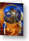 Wolves Mixed Media Greeting Cards - Dream Catcher - Wolf Dreams Greeting Card by Carol Cavalaris