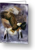 Animal Art Giclee Mixed Media Greeting Cards - Dream Catcher - Spirit Eagle Greeting Card by Carol Cavalaris