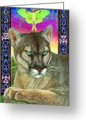 National Drawings Greeting Cards - Dream of the Panther Greeting Card by Tim McCarthy