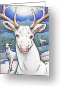 Karma Greeting Cards - Dream of the White Stag Greeting Card by Amy S Turner