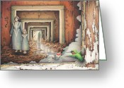 Haunted House Drawings Greeting Cards - Dream Series - Transfixed Greeting Card by Amy S Turner