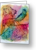 Fushia Painting Greeting Cards - Dream Spring Greeting Card by Linda May Jones