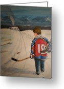 Minor Hockey Greeting Cards - Dream Walking - Little Joe Greeting Card by Ron  Genest