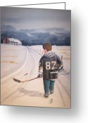Minor Hockey Greeting Cards - Dream Walking - The kid Greeting Card by Ron  Genest
