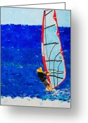 Wind Surfing Art Painting Greeting Cards - Dreamer Disease III Greeting Card by Ralph Mantia Sr