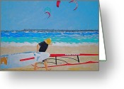 Wind Surfing Art Painting Greeting Cards - Dreamer Disease V Ponce Inlet  Greeting Card by Ralph Mantia Sr