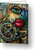 Couples Painting Greeting Cards - Dreamers 3 Greeting Card by Michael Lang
