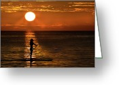 Surf Silhouette Greeting Cards - Dreaming Greeting Card by Debra and Dave Vanderlaan
