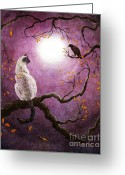 Laura Milnor Iverson Greeting Cards - Dreaming of a Raven Greeting Card by Laura Iverson