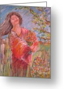 Spring Sculpture Greeting Cards - Dreaming of Spring Greeting Card by Deborah Nell