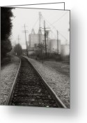 Railroad Tracks Greeting Cards - Dreaming of Trains Gone By Greeting Card by Steven Ainsworth
