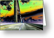 Florida Bridge Digital Art Greeting Cards - Dreaming over the Skyway Greeting Card by David Lee Thompson