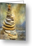 Featured Mixed Media Greeting Cards - Dreaming Stones Greeting Card by Carol Cavalaris
