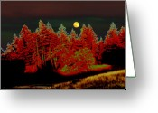 Other World Greeting Cards - Dreaming Tree Moon Greeting Card by JoAnn SkyWatcher