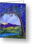 Snow Capped Painting Greeting Cards - Dreaming Tree Greeting Card by Tanielle Childers