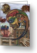 New York City Painting Greeting Cards - Dreams Lost The Molting Greeting Card by Karen Musick