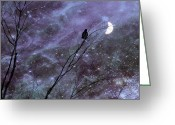 Otherworldly Greeting Cards - Dreams Of Crow Greeting Card by Gothicolors With Crows