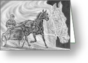 Pencil Drawing Greeting Cards - Dreams of Greatness - Harness Racing Art Print Greeting Card by Kelli Swan