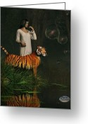Nightgown Greeting Cards - Dreams of Tigers and Bubbles Greeting Card by Daniel Eskridge