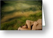 In The Nude Greeting Cards - Dreams Greeting Card by Raul Villalba