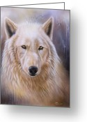 Wolf Song Studio Greeting Cards - Dreamscape Wolf III Greeting Card by Sandi Baker