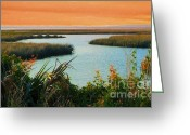 Artography Greeting Cards - Dreamsicle Sunset Greeting Card by Julie Dant