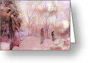 Angel Statue Greeting Cards - Dreamy Angel Statues Surreal Pink Woodlands Greeting Card by Kathy Fornal