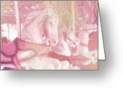Baby Room Photo Greeting Cards - Dreamy Baby Pink MerryGoRound Carousel Horses Greeting Card by Kathy Fornal