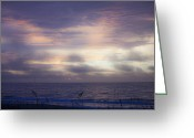 Carolina Greeting Cards - Dreamy Blue Atlantic Sunrise Greeting Card by Teresa Mucha