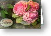 Pink Peonies Greeting Cards - Dreamy Cabbage Pink Roses Inspirational Art Greeting Card by Kathy Fornal