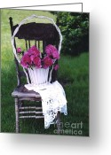 Vintage Chair Greeting Cards - Dreamy Cottage Chic Vintage Pink Peonies in Basket Greeting Card by Kathy Fornal