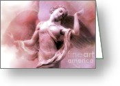 Fine Art Framed Prints Greeting Cards - Dreamy Fantasy Ethereal Angel Wings Fine Art Greeting Card by Kathy Fornal