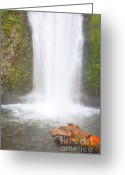Autumn Photographs Greeting Cards - Dreamy Mystic Falls Greeting Card by Andrea Hazel Ihlefeld