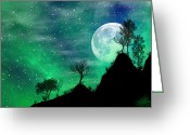 Starry Digital Art Greeting Cards - Dreamy Night Greeting Card by Anthony Citro