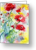 Ginette Fine Art Llc Ginette Callaway Greeting Cards - Dreamy Poppies Greeting Card by Ginette Fine Art LLC Ginette Callaway