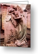 Angel Statue Greeting Cards - Dreamy Surreal Angel Art At Cemetery Stone Greeting Card by Kathy Fornal
