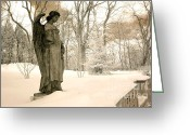 Angel Statue Greeting Cards - Dreamy Surreal Angel Sepia Nature Scene Greeting Card by Kathy Fornal