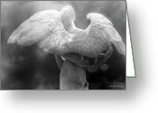Fine Art Framed Prints Greeting Cards - Dreamy Surreal Angel Wings Black White Fine Art Greeting Card by Kathy Fornal