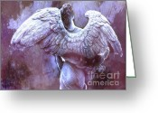White And Purple Wings Greeting Cards - Dreamy Surreal Ethereal Purple Angel Wings  Greeting Card by Kathy Fornal