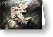 Inspirational Prints Photo Greeting Cards - Dreamy Surreal Fantasy Ethereal Angel  Greeting Card by Kathy Fornal