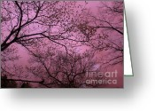 Trees Framed Prints Greeting Cards - Dreamy Surreal Fantasy Pink Nature and Trees  Greeting Card by Kathy Fornal
