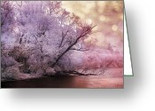 Cottage Chic Greeting Cards - Dreamy Surreal Fantasy Pink Nature Lake Scene Greeting Card by Kathy Fornal