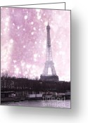 Snow Framed Prints Greeting Cards - Dreamy Surreal Paris In Pink Snow Winter Scene Greeting Card by Kathy Fornal