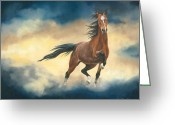 Horses Pastels Greeting Cards - Dreanchaser Greeting Card by Bev Lewis