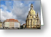 Historic Greeting Cards - Dresden Church of Our Lady and New Market Greeting Card by Christine Till