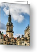 Germany Greeting Cards - Dresden Hausmannsturm - Housemann Tower Greeting Card by Christine Till