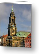 Clock Greeting Cards - Dresden Kreuzkirche - Church of the Holy Cross Greeting Card by Christine Till